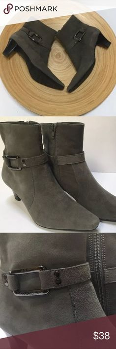 Anne Klein Glint iFlex gray suede ankle booties 7 Anne Klein AK Glint iflex gray suede leather, low heel bootie, side buckle accent, zip closure, women's size 7M in pre-owned great condition with slight wear showing (cracking) on inside of zipper liner (see pics). Barely worn and very little wear on soles - suede is in excellent condition. Smoke-free environment.  No trades - offers welcome. Anne Klein Shoes Ankle Boots & Booties
