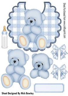 cuddly Blue bear on gingham bib with bows A4 on Craftsuprint - Add To Basket!
