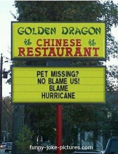 Funny Chinese Restaurant Pet Hurricane Sign