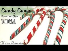 Polymer Clay Candy Canes Christmas Tree Decorations Tutorial | Maive Ferrando - YouTube