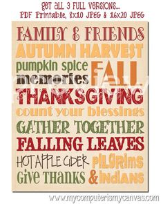 Printable Thanksgiving Subway ART BUNDLE. (comes with bookmarks and lipbalm labels)