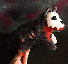 Halloween Special Grey zombie wolf plush by CyanFoxDesigns on Etsy