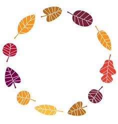 Wreath with colorful autumn leaves vector 1566667 - by lordalea on VectorStock®