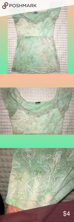 Sheer green blouse :) Sparkly green blouse Sheer/see through Beading at the top  Floral/leaves design SUPER CUTE :) Tops Blouses