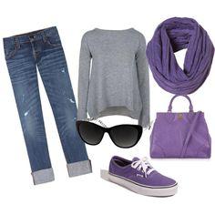 Blue Jeans + Gray Top + Purple Top + Purple Bag + Purple Vans + Black Sunglasses