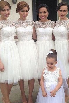 Lace Bridesmaid Dresses, White Homecoming Dresses, Homecoming Dresses,