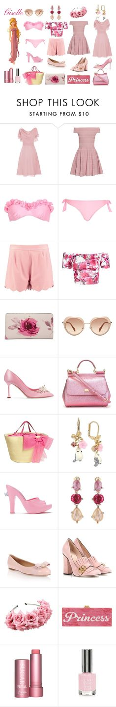 """Giselle Disneybound - Summer Edition"" by msmith22 ❤ liked on Polyvore featuring Alexander McQueen, Disney, River Island, Boohoo, Motel, Kate Spade, Miu Miu, Dolce&Gabbana, RED Valentino and Betsey Johnson"