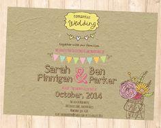 Country Wedding invitation, Mason Jar Design - rustic wedding printable invite