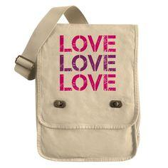 pink and purple LOVE LOVE LOVE -  Canvas Field Bag