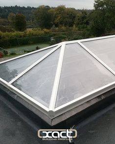 XACT Aluminium Roof Lantern installed at a property in Guildford, Surrey. Beautiful view of the English countryside. This was a replacement roof lantern above a kitchen in an orangery style extension.