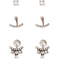 Forever 21 Rhinestone Ear Jacket Set ($5.90) ❤ liked on Polyvore featuring jewelry, earrings, forever 21 earrings, lightweight earrings, rhinestone jewelry, post earrings and forever 21 jewelry