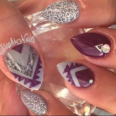 nice @_stephsnails_ - #tribal#plum#plumlove#grey#cutenails#notpolish#...