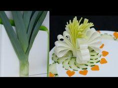 Leek Flower Carving | Vegetable Flower | Food Decoration 4K - YouTube