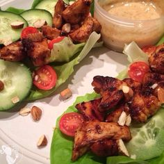 Are you tired of eating boring chicken everyday? Look no further... Honey Glazed Chicken Lettuce Wraps is a great way to switch up your boring Chicken recipe!!! Dipped in a Delicious Homemade Dijon HoneyMustard #CarbFriendlyFoods