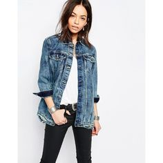 Only Longline Denim Jacket (891.820 IDR) ❤ liked on Polyvore featuring outerwear, jackets, blue, white jean jacket, distressed jacket, distressed jean jacket, long line jacket and blue cotton jacket