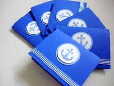 A set of 6pcs.  Anchor/ Nautical Birthday/Baby Boy Shower/Children's Birthday Invite/Thank you Handmade Note Cards/Notecards by Arleendesign. $5.00, via Etsy.