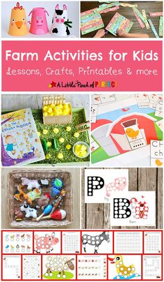 In this post, we show you a wonderful list of lessons, crafts, printables and other fun activities about the farm and farm animals. We hope you enjoy looking through all of these farm activities for kids! Animal Activities For Kids, Farm Activities, Animal Crafts For Kids, Spring Activities, Color Activities, Infant Activities, Indoor Activities, Kindergarten Age, Barn Wood Crafts