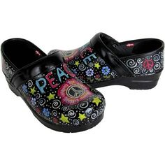 Painted Sanita Shoes | ... Confetti Peace Hand Painted Professional Leather Sanita Clogs: Shoes