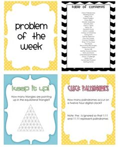 Challenging weekly word problems for the math classroom. I may assign these each week to do independently at home and bring to school to solve together. Math Teacher, Math Classroom, Teaching Math, Teaching Ideas, Classroom Ideas, Future Classroom, Math Resources, Math Activities, Fun Math