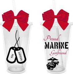 Proud Marine Girlfriend/Wife 16 oz. Personalized Acrylic Tumbler. $12.00, via Etsy.