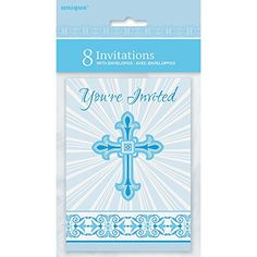 Radiant Cross Blue Religious Invitations 8ct ** Click image to review more details.