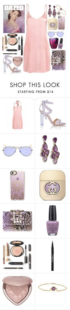 """""""Wild Horses - Bishop Briggs"""" by leo8august ❤ liked on Polyvore featuring Gianvito Rossi, Ray-Ban, Casetify, Gucci, GEDEBE, OPI, Trish McEvoy, Too Faced Cosmetics, Belk & Co. and Chupi"""
