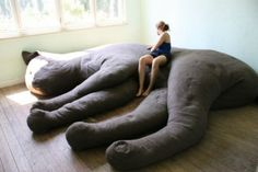"A Giant Cat-Shaped Couch. Belgian design studio Unfold created a giant, cat couch as part of its June 2010 ""Felis Domesticus"" installation in Luchtbal, Antwerp. Cat Couch, Plush Couch, Crazy Cat Lady, Crazy Cats, Sofa Design, Interior Design, Huge Cat, Giant Cat, Giant Plush"