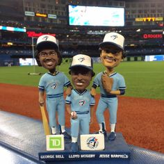 A triple bobblehead to celebrate the anniversary of the 1985 division winning Blue Jays: George Bell, Lloyd Moseby, Jesse Barfield/ Aug 2015 Toronto Blue Jays, 30th Anniversary, Bobble Head, Baseball, Celebrities, Division, Random Stuff, People, Celebrity