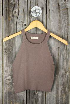 U-Neck Stretchy Sweater Crop Tank - Light Cocoa