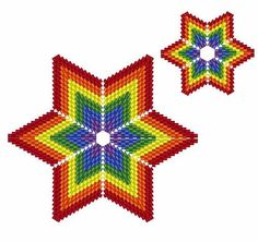 Rainbow Stars Geometric Beading Pattern or Tutorial This is an intermediate to advanced pattern for those that know how to make a warped square and join them into a star. This tutorial gives you two stars for the price of one. One neat little star and a bigger on as well. Perfect for