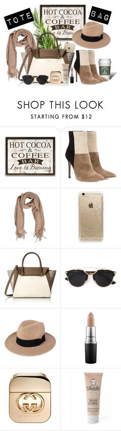 """""""Tote Bag"""" by starshadow773 ❤ liked on Polyvore featuring moda, Gianvito Rossi, Rifle Paper Co, Vince Camuto, Christian Dior, WithChic, MAC Cosmetics, Gucci, Be Delectable e women's clothing"""