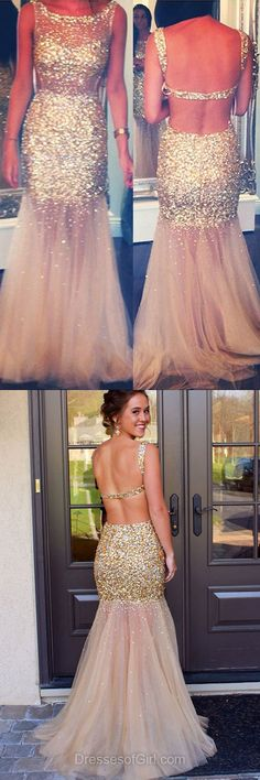 Gold Prom Dresses, Sexy Prom Dress, Open Back Evening Dresses, Tulle Party Dresses, Mermaid Formal Dresses