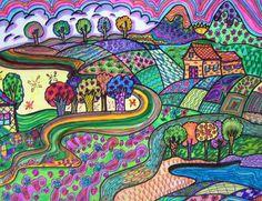 Whimsy Village Original Hippie Folk Art by DawnCollinsArt on Etsy, $40.00