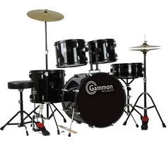 Gammon Drum Set Black Complete Full Size Adult Kit With Cymbals Sticks Hardware And Stool - Musicians Discount Warehouse