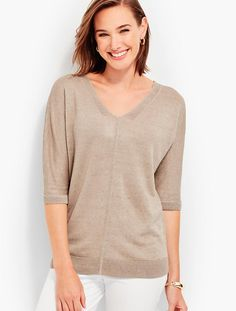 Double-V Linen Sweater Topper | Talbots