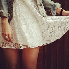 Lace and denim, cute♡