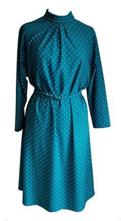 Vintage 1970s St Michael Green Ditsy Print Day Dress Size 14