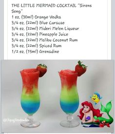 Little mermaid drink made with Vodka and Rum Disney Cocktails, Disney Alcoholic Drinks, Frozen Drinks, Cocktail Drinks, Party Drinks, Disney Mixed Drinks, Cocktail Recipes, Frozen Drink Recipes, Fruity Cocktails