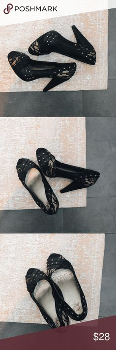 🔴 EUC BKE Sole Buckle Lace Pumps These adorable lace pumps from The Buckle feature gold with all over black lace and a hidden platform for extra comfort, making them the perfect day to night shoe. / Excellent used condition / most wear is on the bottom of the shoe  Listing is for shoes only  Part of the BOGO $5 sale Buckle Shoes Heels