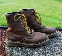 Vtg 80's 90's Doc Martens Brown Leather Boots by EmeraldCityRetro