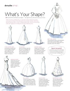 Find the wedding dress shape that is right for your body with this guide. V-Neck Empire Dress, Trumpet Gown (if not too tapered on the bottom), and Sheath Gown are the ones I'm interested in. Wedding Dress Shapes, Dream Wedding Dresses, Wedding Gowns, Wedding Dress For Short Women, Wedding Dress Quiz, Wedding Dress Finder, Wedding Dress Shopping, Orlando Wedding, Wedding Wishes