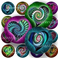 Spiral Hearts Digital Collage 256 Sheet 1 inch by sweetcolours