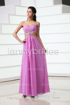 Lilac Chiffon Ankle-length Beading Summer Prom Gown - Fannybrides.com Strapless Dress Formal, Formal Dresses, Party Dresses, Discount Prom Dresses, Ankle Length, Lilac, Chiffon, Sequins, Gowns
