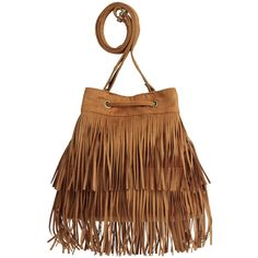 Bucket Bag with Fringe $29.99 ($30) ❤ liked on Polyvore featuring bags, handbags, shoulder bags, fringe bucket bag, drawstring bucket bag, brown handbags, zipper purse and fringe handbags