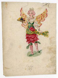 Mardi Gras 1, Plate 044. Fashion plates, 1790-1929. The Costume Institute Fashion Plates. The Metropolitan Museum of Art, New York. Gift of Woodman Thompson (b17509853) | A fairy costume from a series of Mardi Gras fashion plates. #fashion #mardigras