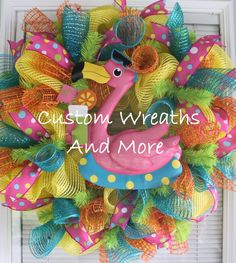 Sassy Pink Flamingo Wreath just in time by CustomWreathsAndMore