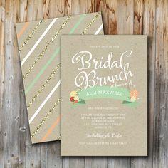 Bridal Brunch Invitation, Vintage Floral, Wedding Shower, Bridal Shower, Printable, Insert, Custom, Gold, Front and Back on Etsy, $15.00