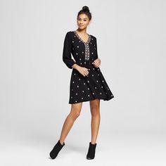 Women's Embroidered V-Neck Dress Black M - Xhilaration™ (Juniors') : Target