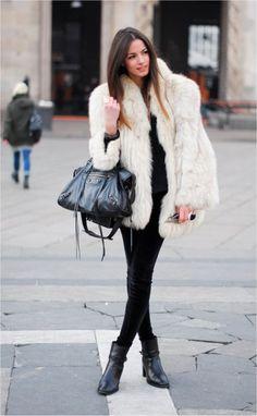 white fur coat