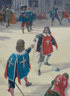 Duelling With the Cardinal's guard Spanish War, 17th Century Clothing, Medieval, Thirty Years' War, The Hierophant, Historical Art, Historical Pictures, The Three Musketeers, Renaissance Era